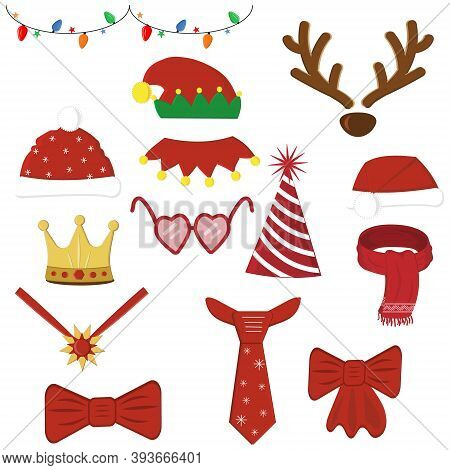 Set Of Christmas Accessories For Carnival And Holiday, Balloons And Christmas Toys. Color Vector Ill