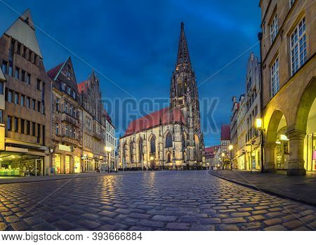 Munster, Germany. View Of St Lambert's Church At Dusk (hdr Image)