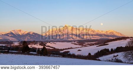 Krivan mountain during sunset in High Tatras, Slovakia
