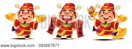 Collection Of Chinese God Of Wealth Cartoon Set. Cute Caishen Holding Golden Ingots And Scroll. Cute