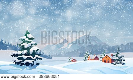 Winter Snow Landscape And Houses On Background With Snowflakes Falling From Sky. Christmas Winter Sc