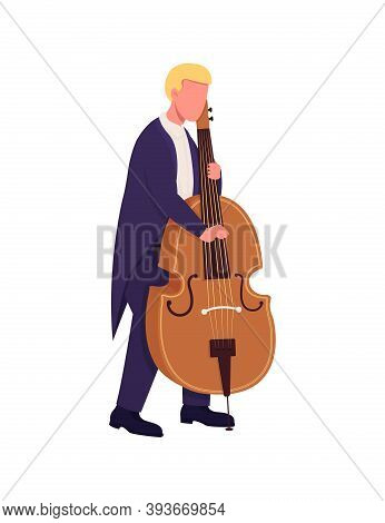Caucasian Cello Player Flat Color Vector Faceless Character. Cellist Perform. Man Play Musical Instr