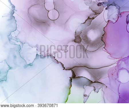 Ethereal Paint Texture. Alcohol Ink Wave Background. Lilac Creative Oil Splash. Watercolor Color Mar