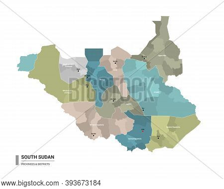 South Sudan Higt Detailed Map With Subdivisions. Administrative Map Of South Sudan With Districts An