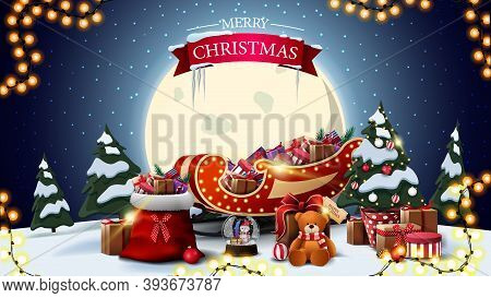 Merry Christmas, Horizontal Postcard With Cartoon Winter Landscape, Big Yellow Moon, Santa Claus Bag
