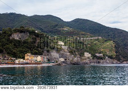 Monterosso Al Mare, Italy - July 8, 2017:  View Of Colorful Buildings Of Monterosso Al Mare On A Sum