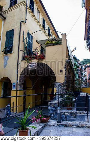 Monterosso Al Mare, Italy - July 8, 2017: View Of Monterosso Al Mare Old Town From A Hotel Entrance