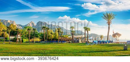 Park And Mountains In Kemer At Summer Day, Turkey