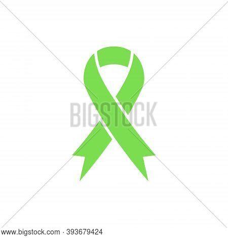 Green Awareness Ribbon Icon. Organ Transplant And Organ Donation Awareness Ribbon. Scoliosis, Lympho
