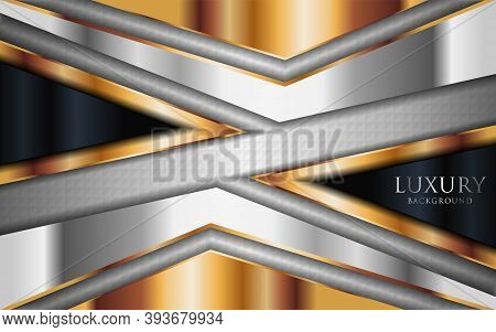 Luxury Shinny Silver Background Combine With Golden Lines Element. Graphic Design Element.