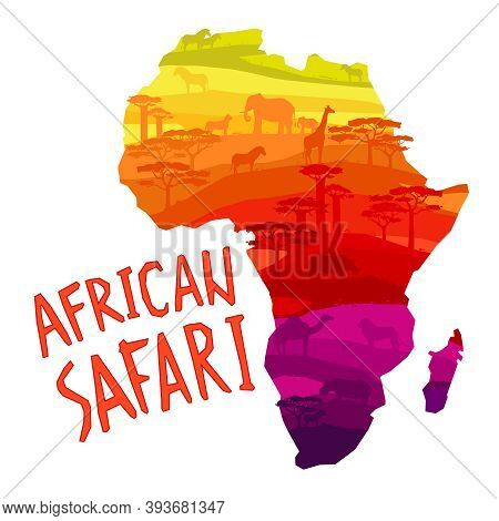 African Safari Concept With African Mainland Silhouette Filled With Animals And Trees Concept Vector