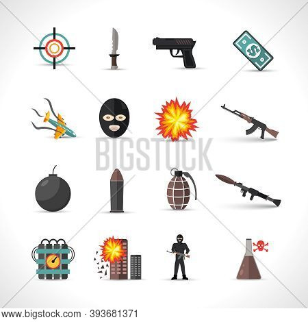 Terrorism Icons Set With Different Type Of Terror Crimes Symbols Isolated Vector Illustration