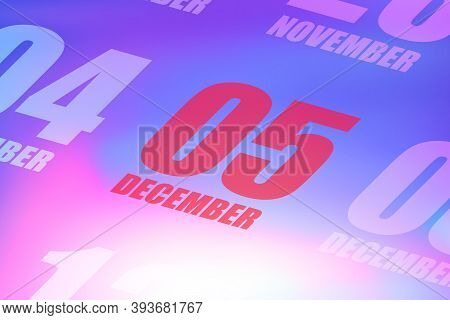 December 5th. Day 5 Of Month, Red Date Written On A Calendar To Remind Important Event. Winter Month