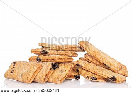Lot Of Whole Square Puff Cookie With Raisins Heap Isolated On White