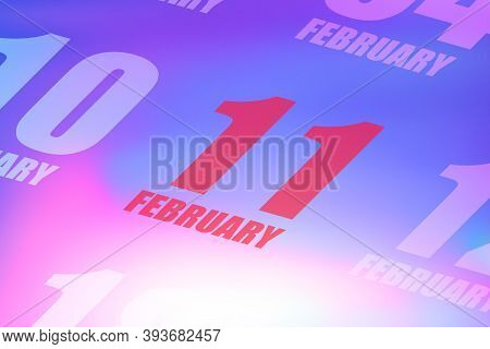 February 11th. Day 11 Of Month, Red Date Written On A Calendar To Remind Important Event. Winter Mon