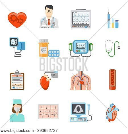Cardiology Flat Icons Set Of Medical Tools And Equipment For Heart Care And Treatment On White Backg