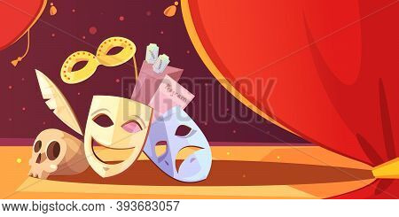 Color Cartoon Illustration Depicting Theatre Props Mask Skull Vector Illustration