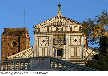 The Facade Of The Basilica Of San Miniato Al Monte (st. Minias On The Mountain) In Florence. It Is O