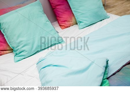 Selection Of Colorful Cushions On A Sofa.decorative Pillows.bedding With A Trendy Pillows . Copy Spa