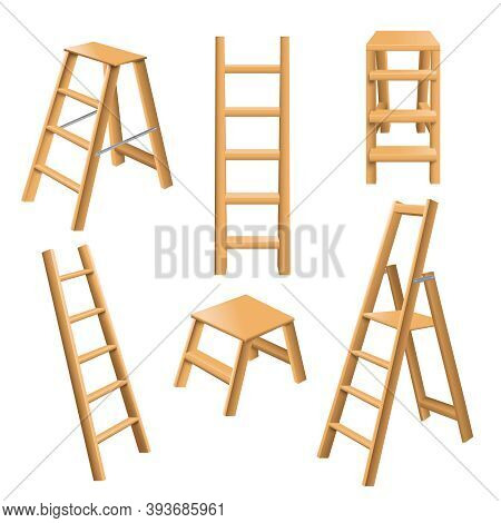 Multi Purpose Leaning And Standing Classic Wooden Ladders Realistic 3d Collection With Step Stool Is