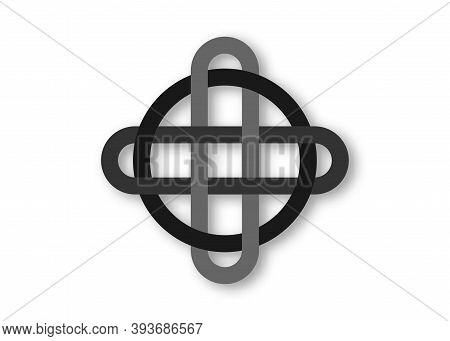 Celtic Knot, Interlocked Circles Logo, Overlap Mystic Elements Sign Vector Tattoo Isolated, Cross Ce