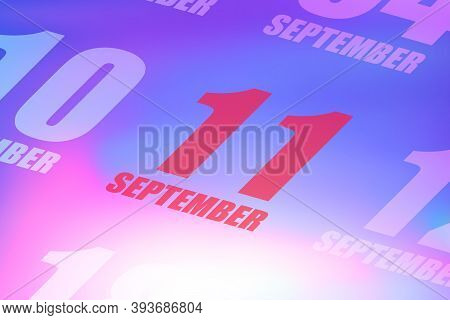 September 11th. Day 11 Of Month, Red Date Written On A Calendar To Remind Important Event. Autumn Mo