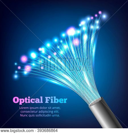 Electric Cables Optic Fibers Realistic Composition With Multicolor Bright And Gradient Effect Vector