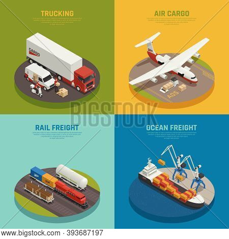 Cargo Transportation Including Ocean And Rail Freight Air Delivery Trucking Isometric Design Concept