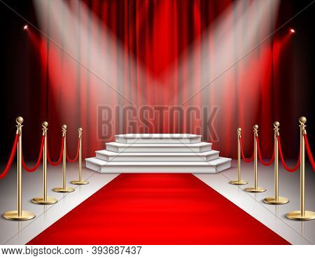 Red Carpet Celebrities Event Realistic Composition With White Stairs Podium Spotlights Carmine Satin