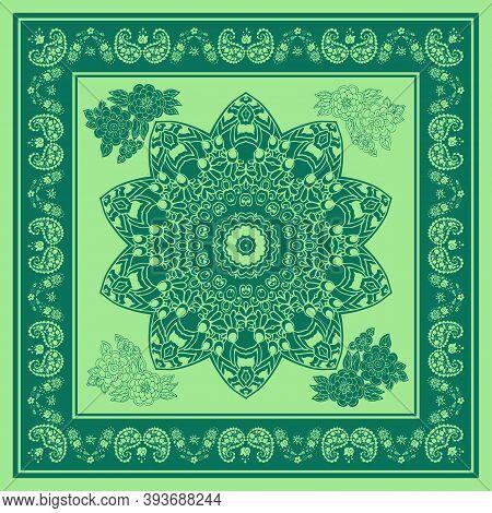 Beautiful Bandana Print With Mandala, Flowers And Paisley In Green Colors. Summer Kerchief, Square S