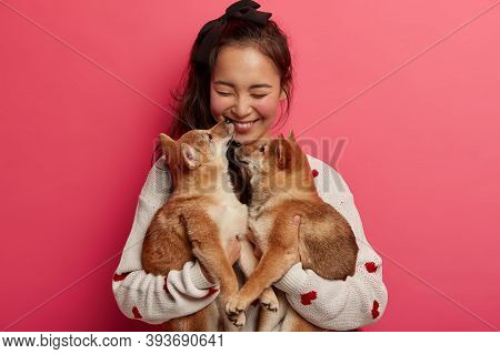 Human And Animal Friendship Concept. Cheerful Girl Happy To Get Two Pedigree Puppies On Her Birthday