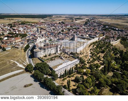 Aerial View Of Cuellar, A Small Old Town In The Province Of Segovia, With The Reconstructed Castle I
