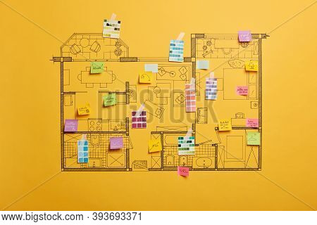 Home Renovation And Design Concept. House Scheme Of Different Rooms. Furnishing Project. Sticky Note
