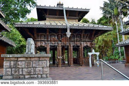 Brisbane, Queensland, Australia, - September 27, 2017: Nepalese Peace Pagoda In City Centrum In Bris