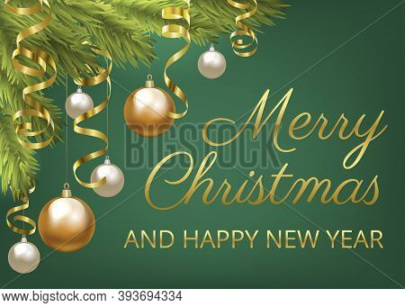 Christmas Fir Tree With Baubles And Golden Serpentine. Christmas Card