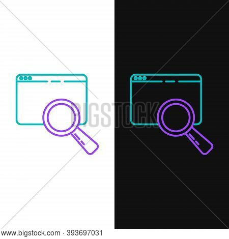Line Search In A Browser Window Icon Isolated On White And Black Background. Colorful Outline Concep
