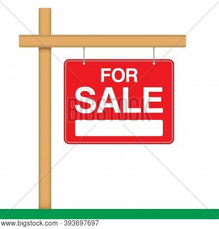 For Sale Banner, Hanging On A Wooden Pole. Ad Banner For House Or Property Sale. Realty Trade Red Ve