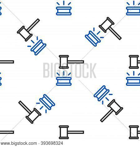 Line Judge Gavel Icon Isolated Seamless Pattern On White Background. Gavel For Adjudication Of Sente