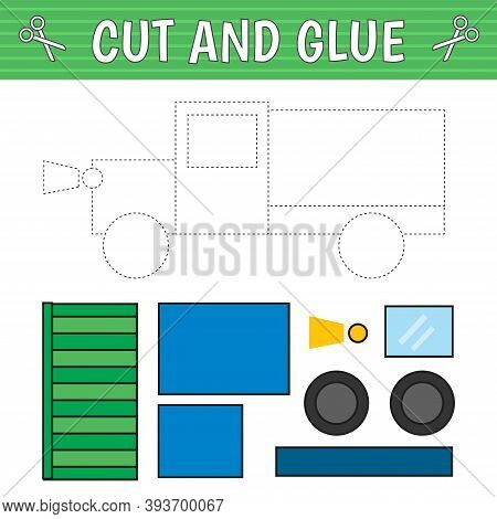 A Truck Of Geometric Shapes. Cut And Glue. Children's Game. Constructor, Application. Vector Illustr