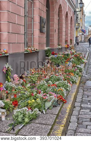Estonia, Tallinn, 11/02/2015 Flowers, Candles And Toys - Condolences Over The Terrorist Act At The D