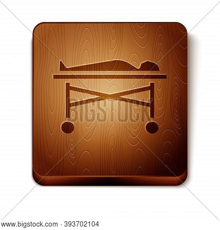 Brown Dead Body In The Morgue Icon Isolated On White Background. Wooden Square Button. Vector