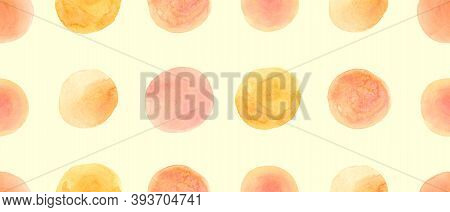 Yellow Wrapping Paper Print. Red Grunge Circles Ornament. Orange Hand Drawn Stains. Abstract Geometr