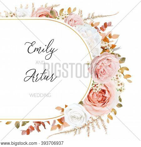 Vector Floral Autumn Winter Wedding Invite Card Design. Lush Fall Leaves, Blush Peach, Pink And Ivor