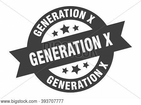 Generation X Sign. Generation X Black Round Ribbon Sticker
