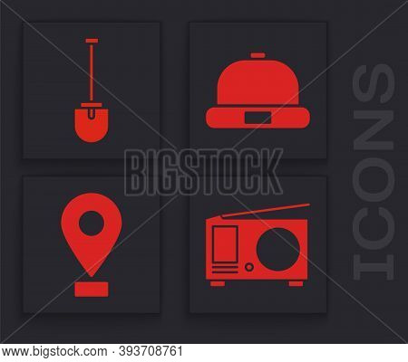 Set Radio With Antenna, Shovel, Beanie Hat And Location Icon. Vector