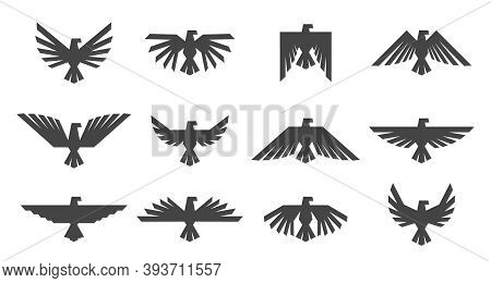 Eagles Graphic Element, Template For Logo Or Icons. Heraldic Symbol With Eagle Or Hawk.