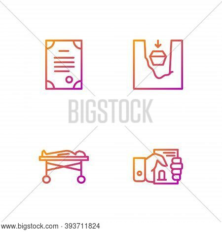 Set Line Death Certificate In Hand, Dead Body The Morgue, And Coffin Grave. Gradient Color Icons. Ve