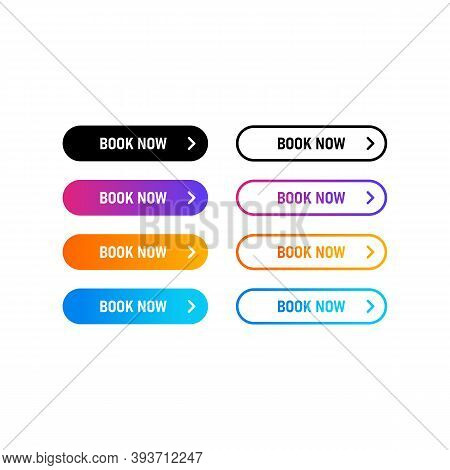 Book Now Button, Icon, Badge. Book Now New Order Button. Flat Button With Colorful Gradient. Concept