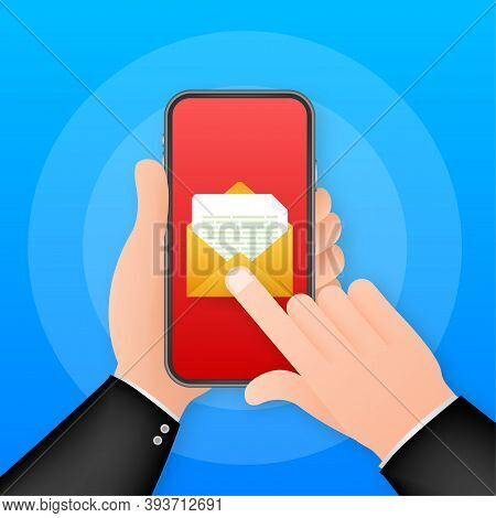 Email Icon. Smartphone On White Background. Concept Business Technology. Message Reminder Concept. M