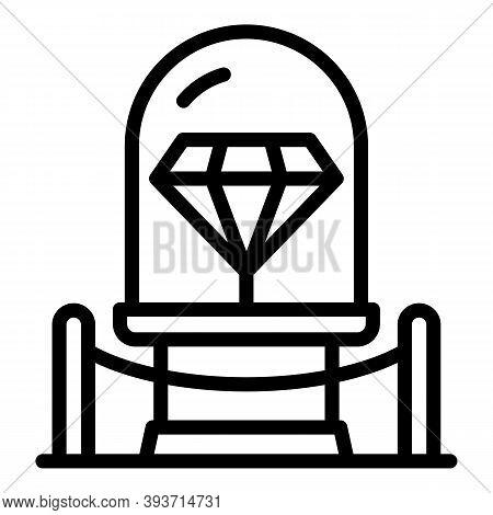 Diamond Auction Icon. Outline Diamond Auction Vector Icon For Web Design Isolated On White Backgroun